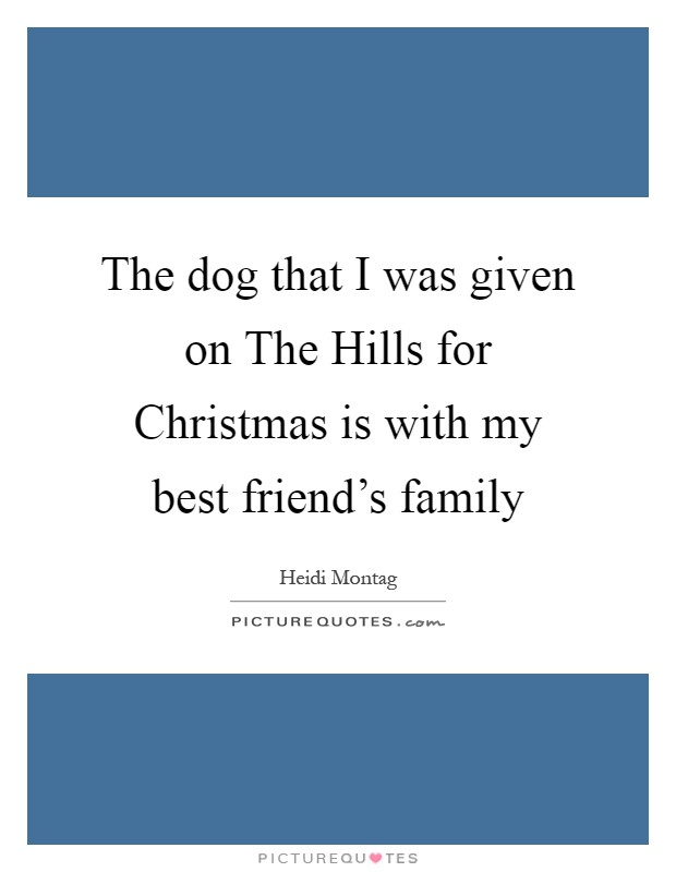 the dog that i was given on the hills for christmas is my