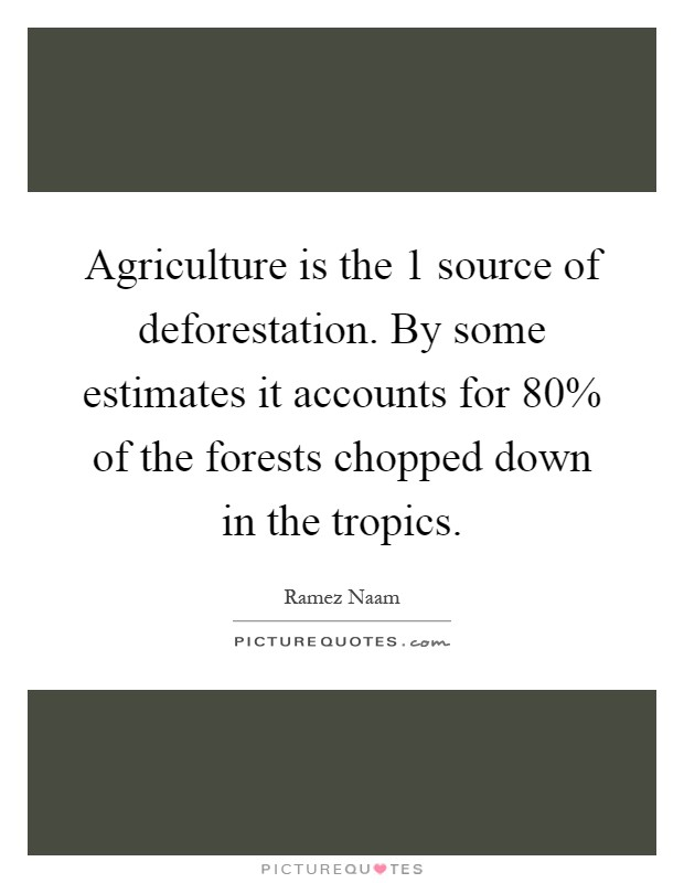 Agriculture is the 1 source of deforestation. By some estimates it accounts for 80% of the forests chopped down in the tropics Picture Quote #1