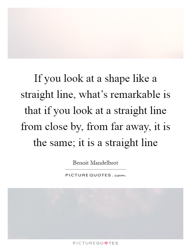 If you look at a shape like a straight line, what's remarkable is that if you look at a straight line from close by, from far away, it is the same; it is a straight line Picture Quote #1