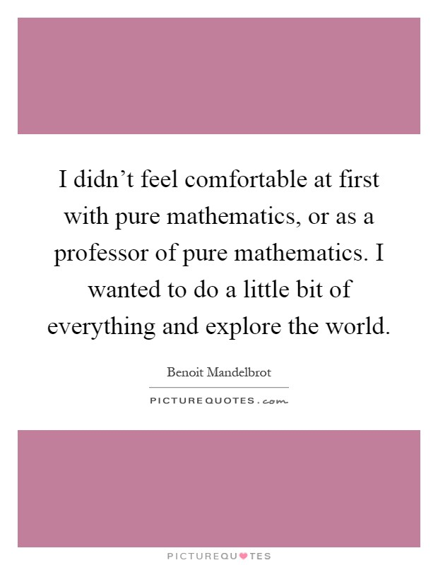 I didn't feel comfortable at first with pure mathematics, or as a professor of pure mathematics. I wanted to do a little bit of everything and explore the world Picture Quote #1