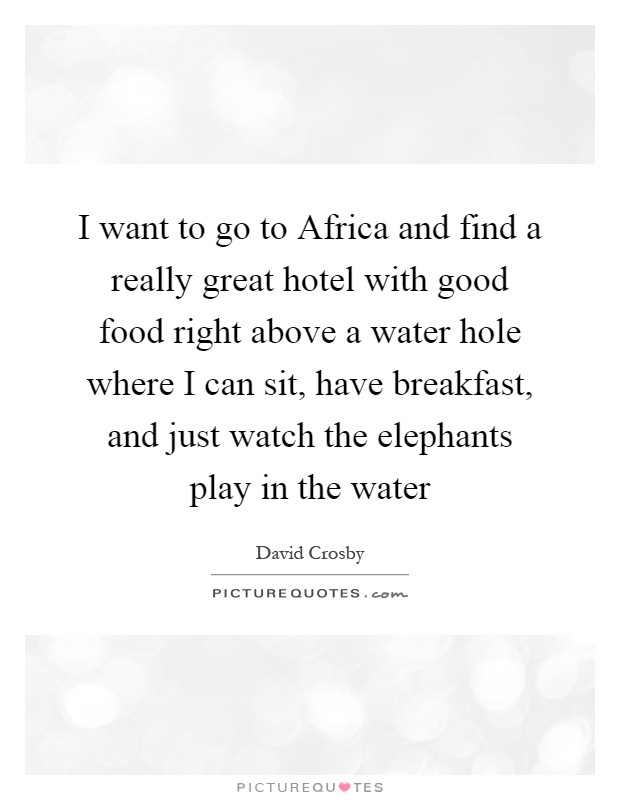 I want to go to Africa and find a really great hotel with good food right above a water hole where I can sit, have breakfast, and just watch the elephants play in the water Picture Quote #1