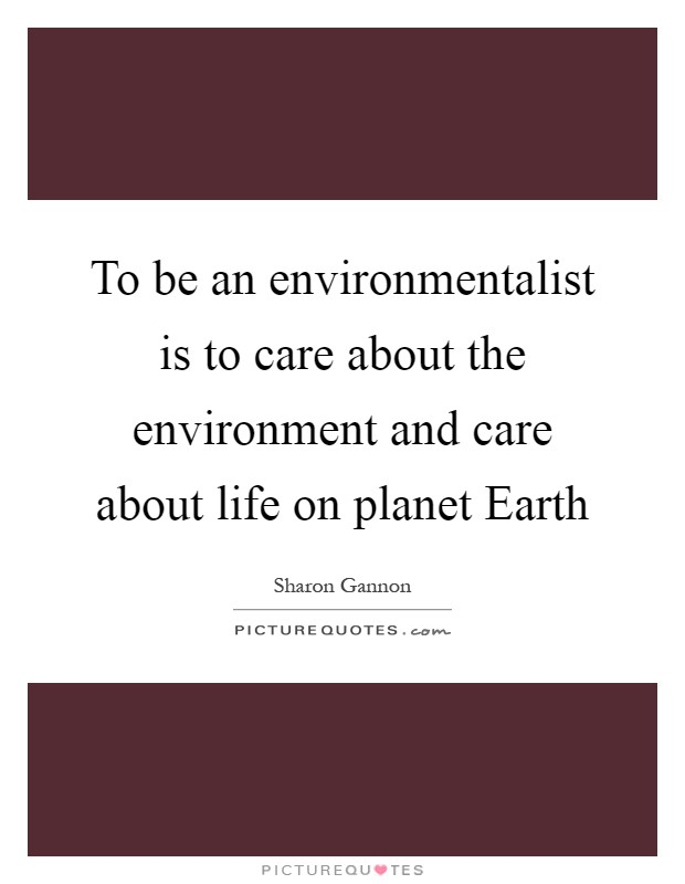 To be an environmentalist is to care about the environment and care about life on planet Earth Picture Quote #1