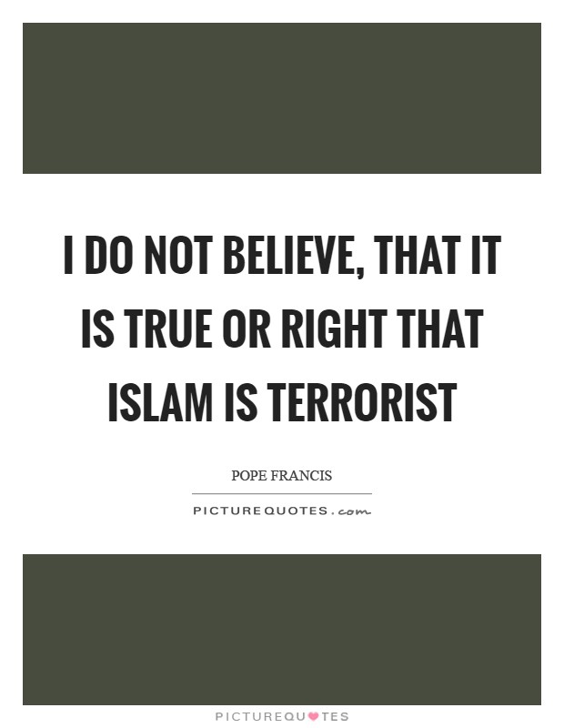 I do not believe, that it is true or right that Islam is terrorist Picture Quote #1