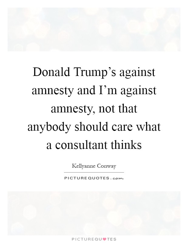 Donald Trump's against amnesty and I'm against amnesty, not that anybody should care what a consultant thinks Picture Quote #1