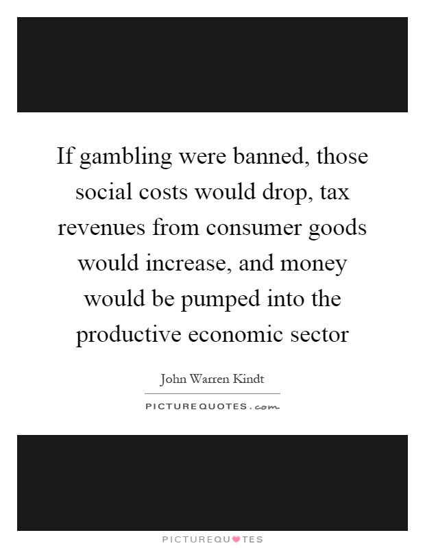 If gambling were banned, those social costs would drop, tax revenues from consumer goods would increase, and money would be pumped into the productive economic sector Picture Quote #1