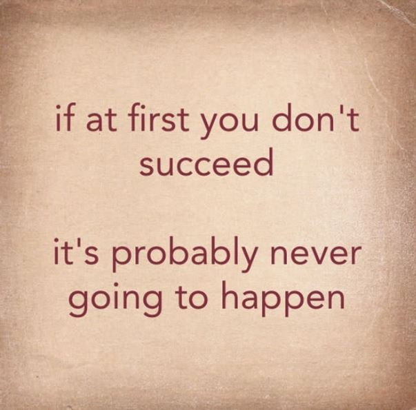 If at first you don't succeed it's probably never going to happen Picture Quote #1