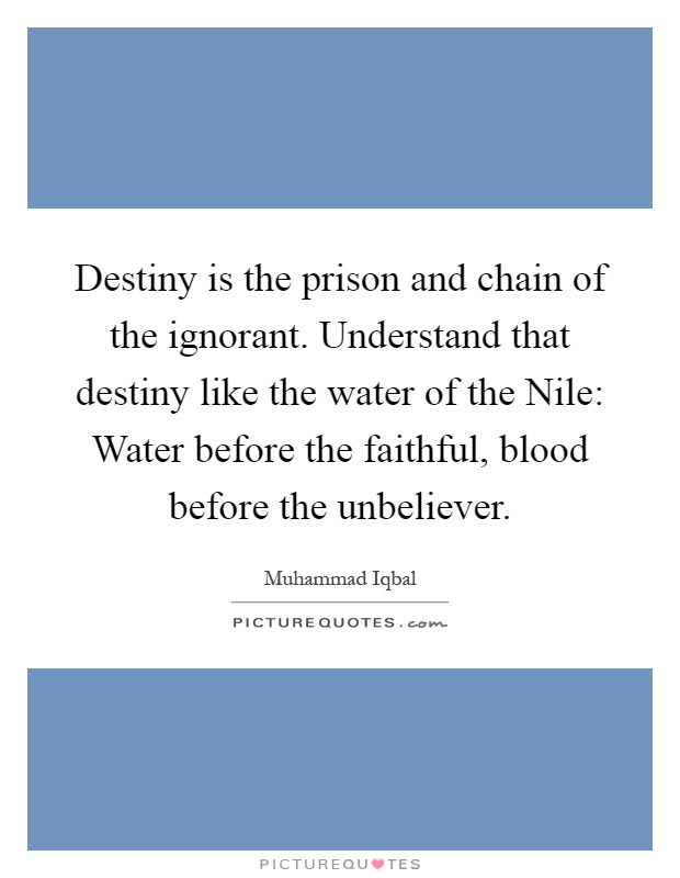 Destiny is the prison and chain of the ignorant. Understand that destiny like the water of the Nile: Water before the faithful, blood before the unbeliever Picture Quote #1