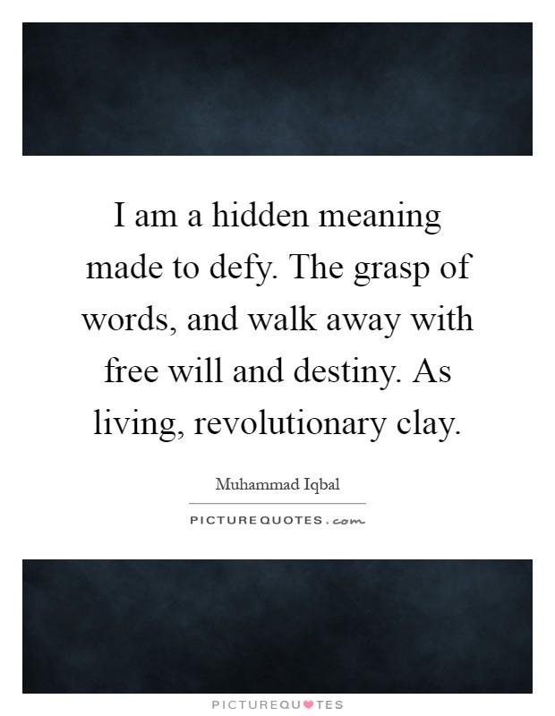 I am a hidden meaning made to defy. The grasp of words, and walk away with free will and destiny. As living, revolutionary clay Picture Quote #1