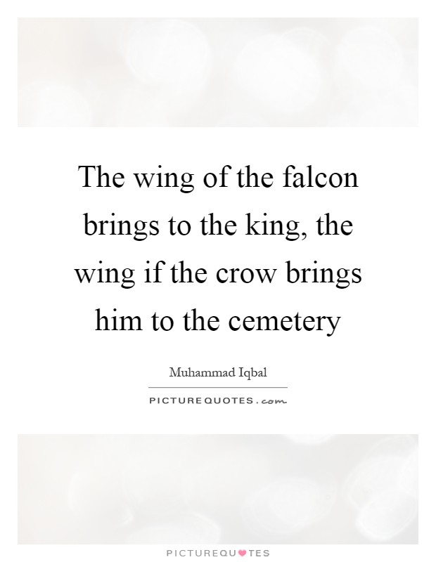 The wing of the falcon brings to the king, the wing if the crow brings him to the cemetery Picture Quote #1