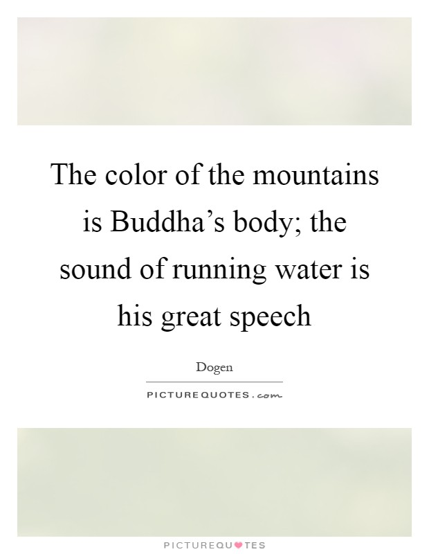 The color of the mountains is Buddha's body; the sound of running water is his great speech Picture Quote #1