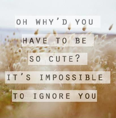 Oh why'd you have to be so cute? It's impossible to ignore you Picture Quote #1