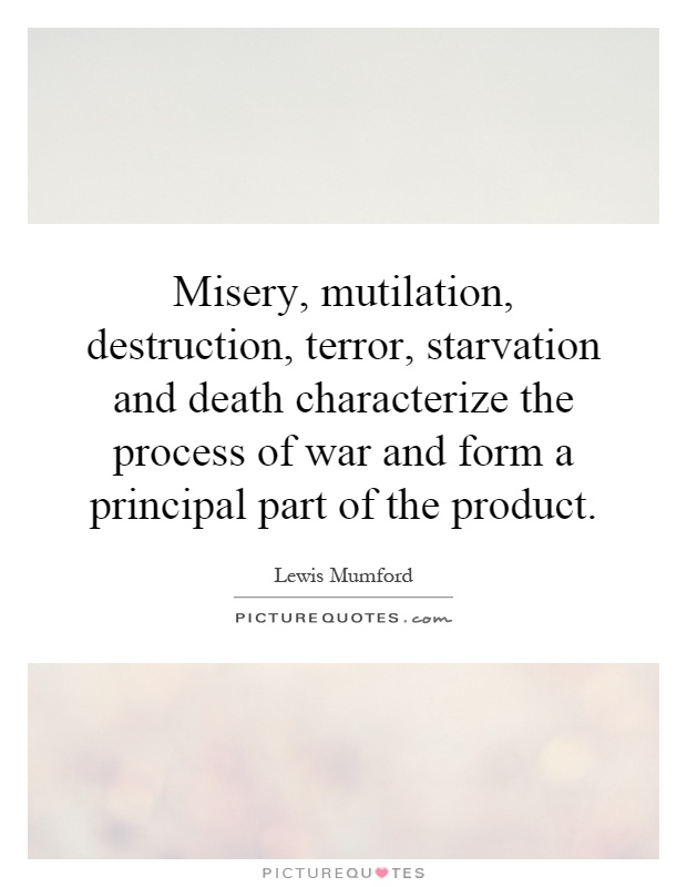 Misery, mutilation, destruction, terror, starvation and death characterize the process of war and form a principal part of the product Picture Quote #1