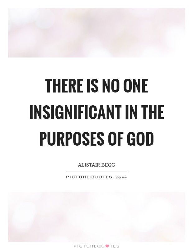 There is no one insignificant in the purposes of God Picture Quote #1