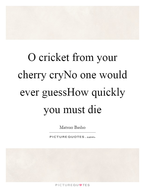 O cricket from your cherry cryNo one would ever guessHow quickly you must die Picture Quote #1