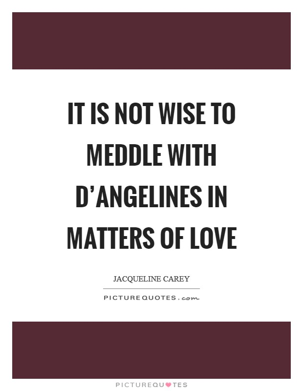 It is not wise to meddle with D'Angelines in matters of love Picture Quote #1