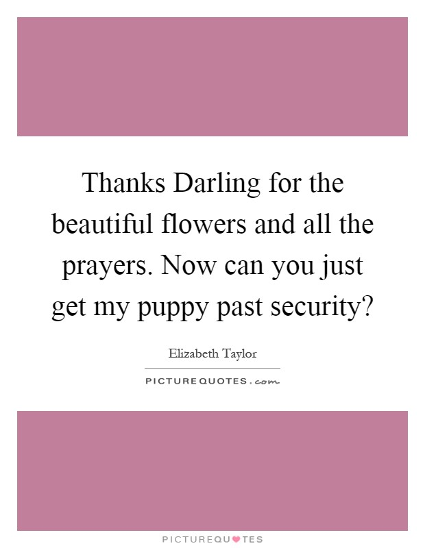 Thanks Darling for the beautiful flowers and all the prayers. Now can you just get my puppy past security? Picture Quote #1