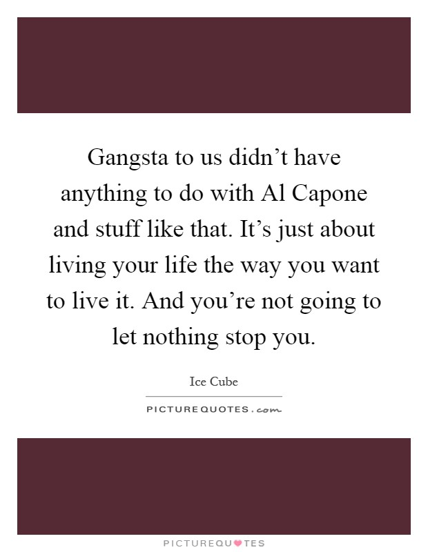 Gangsta to us didn't have anything to do with Al Capone and stuff like that. It's just about living your life the way you want to live it. And you're not going to let nothing stop you Picture Quote #1