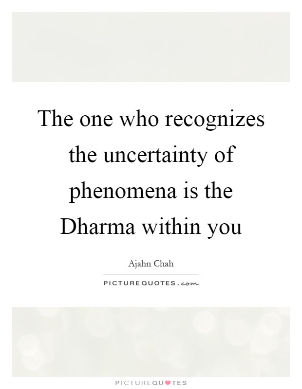 The one who recognizes the uncertainty of phenomena is the Dharma within you Picture Quote #1