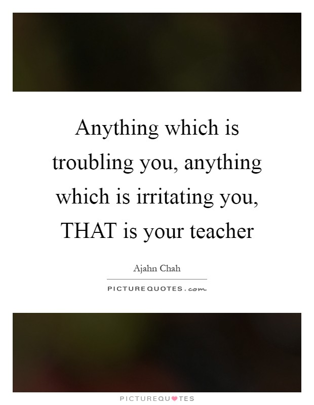 Anything which is troubling you, anything which is irritating you, THAT is your teacher Picture Quote #1