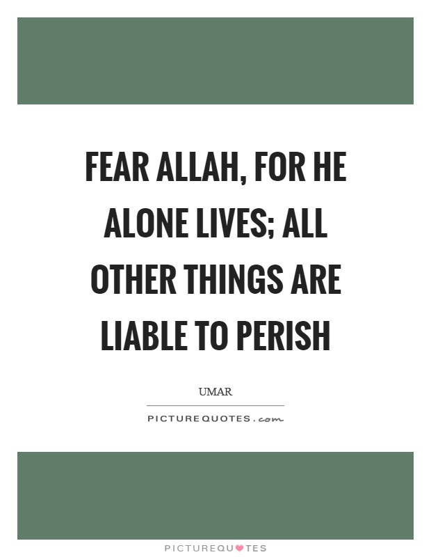 Fear Allah, for He alone lives; all other things are liable to perish Picture Quote #1