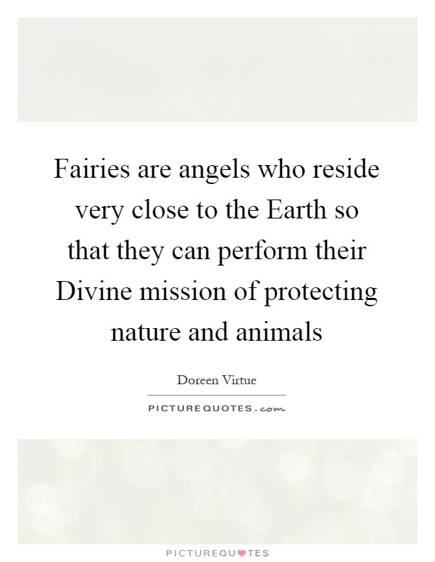 Fairies are angels who reside very close to the Earth so that they can perform their Divine mission of protecting nature and animals Picture Quote #1