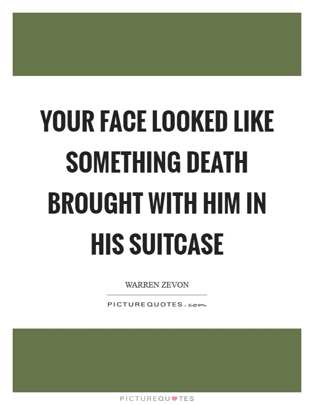 Your face looked like something Death brought with him in his suitcase Picture Quote #1