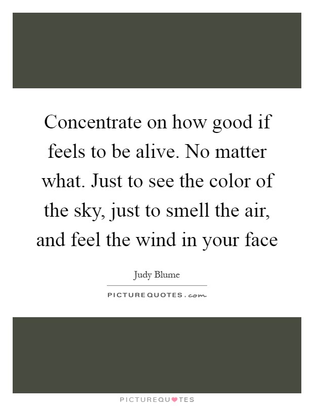 Concentrate on how good if feels to be alive. No matter what. Just to see the color of the sky, just to smell the air, and feel the wind in your face Picture Quote #1