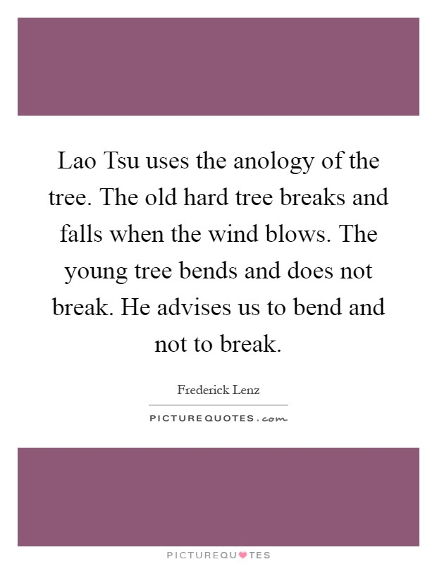 Lao Tsu uses the anology of the tree. The old hard tree breaks and falls when the wind blows. The young tree bends and does not break. He advises us to bend and not to break Picture Quote #1