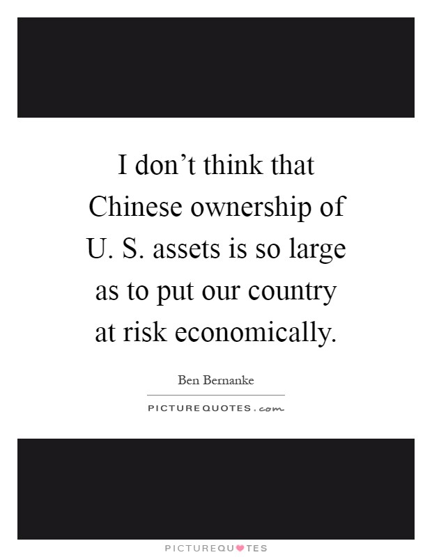 I don't think that Chinese ownership of U. S. assets is so large as to put our country at risk economically Picture Quote #1