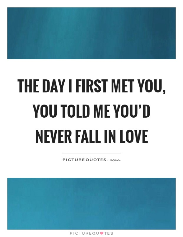 The day I first met you, you told me you'd never fall in love Picture Quote #1
