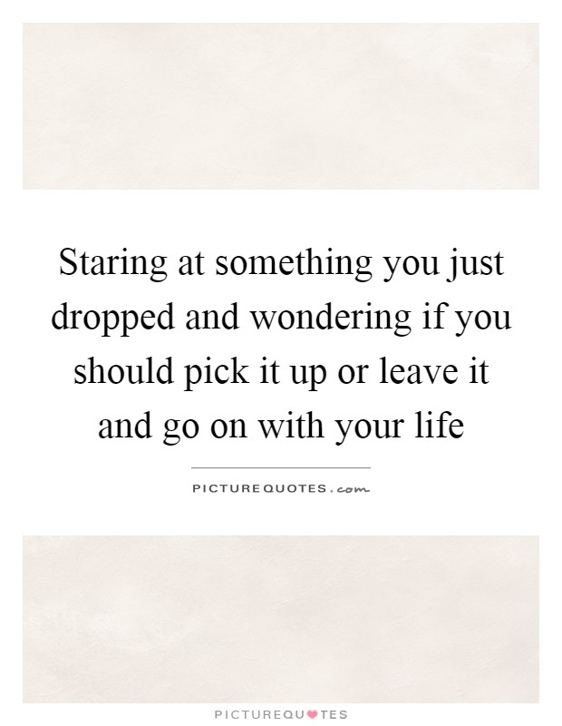 Staring at something you just dropped and wondering if you should pick it up or leave it and go on with your life Picture Quote #1
