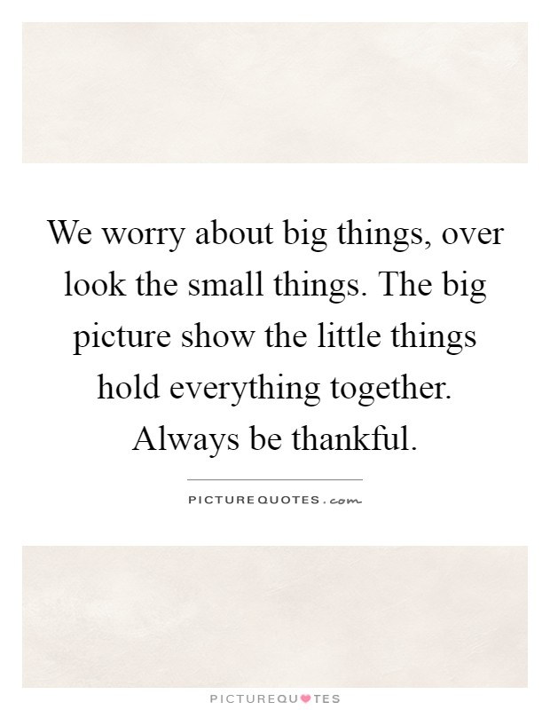 We worry about big things, over look the small things. The big picture show the little things hold everything together. Always be thankful Picture Quote #1