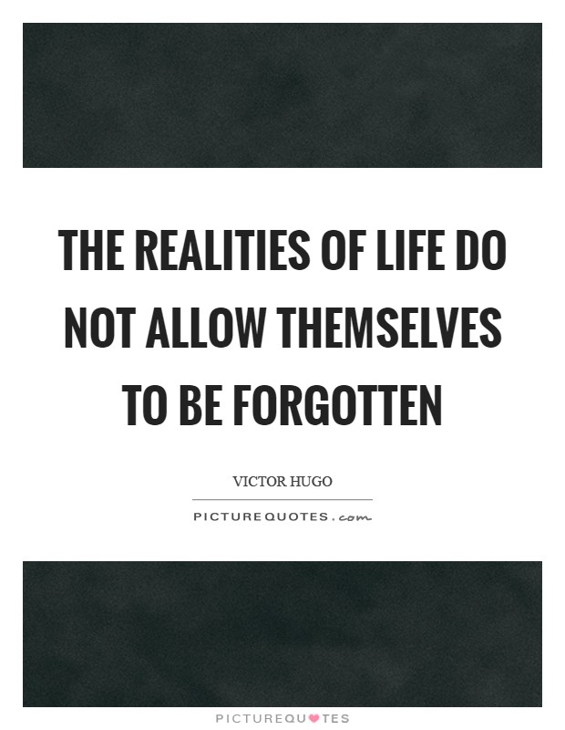 The realities of life do not allow themselves to be forgotten Picture Quote #1