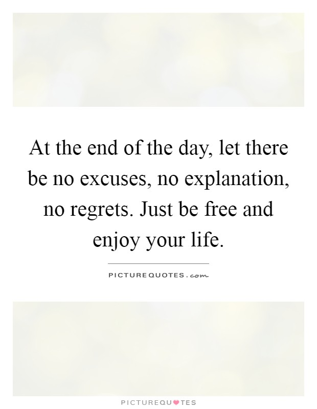 At the end of the day, let there be no excuses, no explanation, no regrets. Just be free and enjoy your life Picture Quote #1