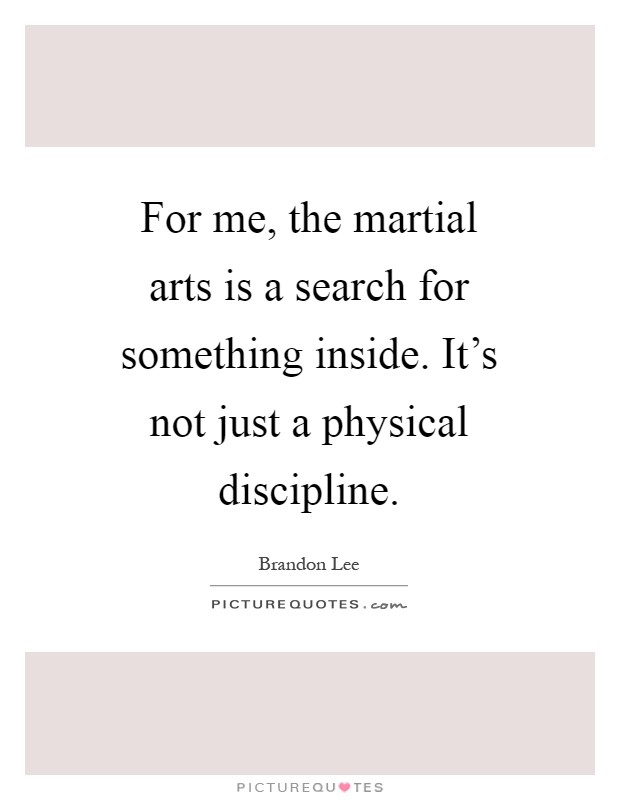 For me, the martial arts is a search for something inside. It's not just a physical discipline Picture Quote #1