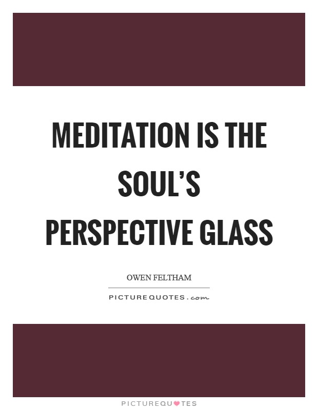 Meditation is the soul's perspective glass Picture Quote #1
