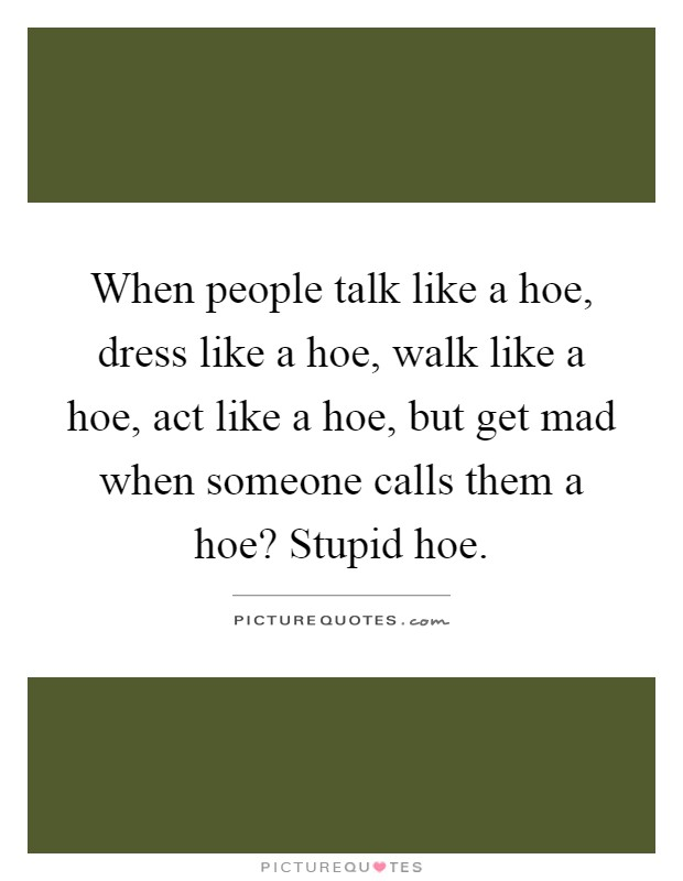 When people talk like a hoe, dress like a hoe, walk like a hoe, act like a hoe, but get mad when someone calls them a hoe? Stupid hoe Picture Quote #1