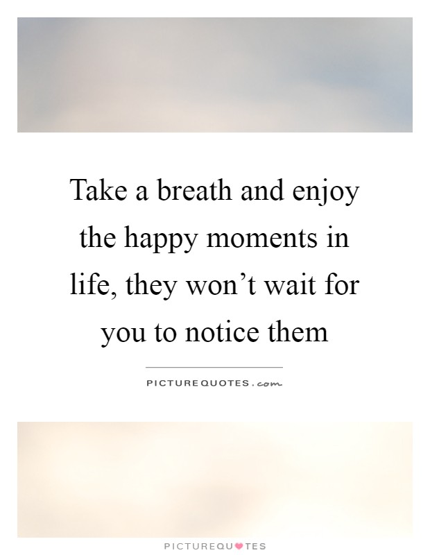 Take a breath and enjoy the happy moments in life, they won't wait for you to notice them Picture Quote #1