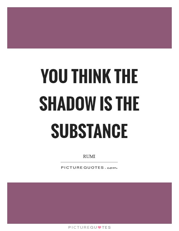 You think the shadow is the substance Picture Quote #1