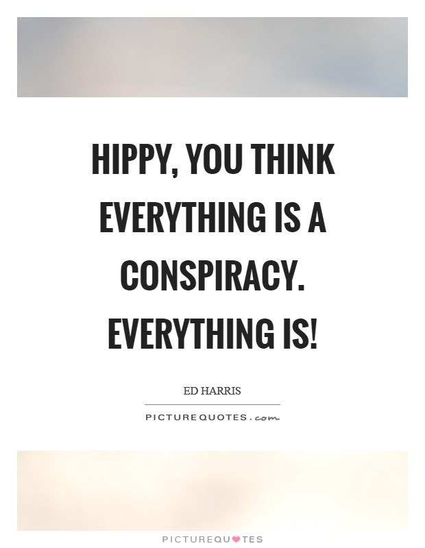 Hippy, you think everything is a conspiracy. Everything is! Picture Quote #1