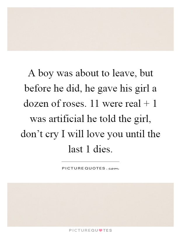A boy was about to leave, but before he did, he gave his girl a dozen of roses. 11 were real   1 was artificial he told the girl, don't cry I will love you until the last 1 dies Picture Quote #1