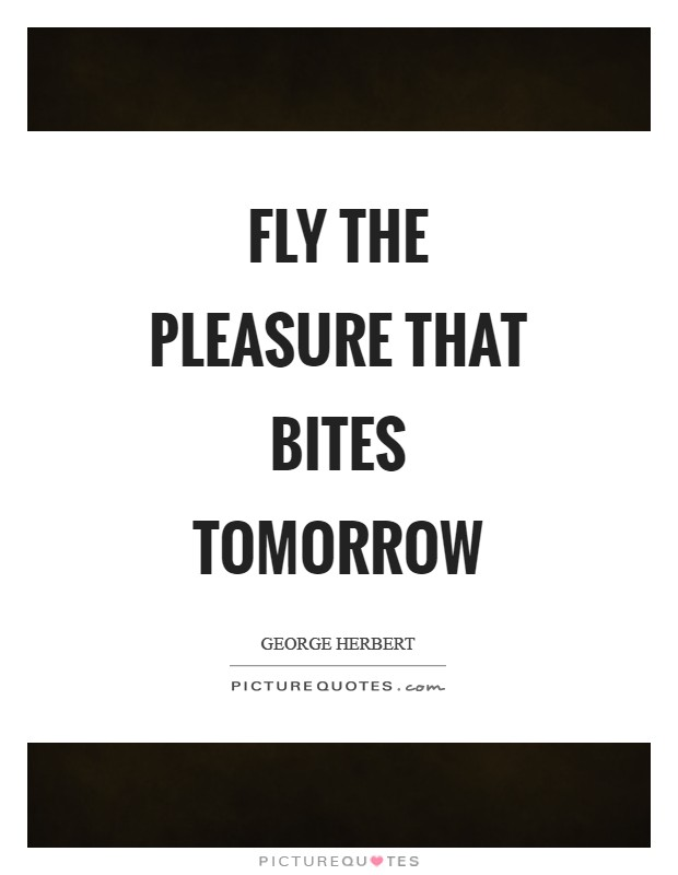 Fly the pleasure that bites tomorrow Picture Quote #1