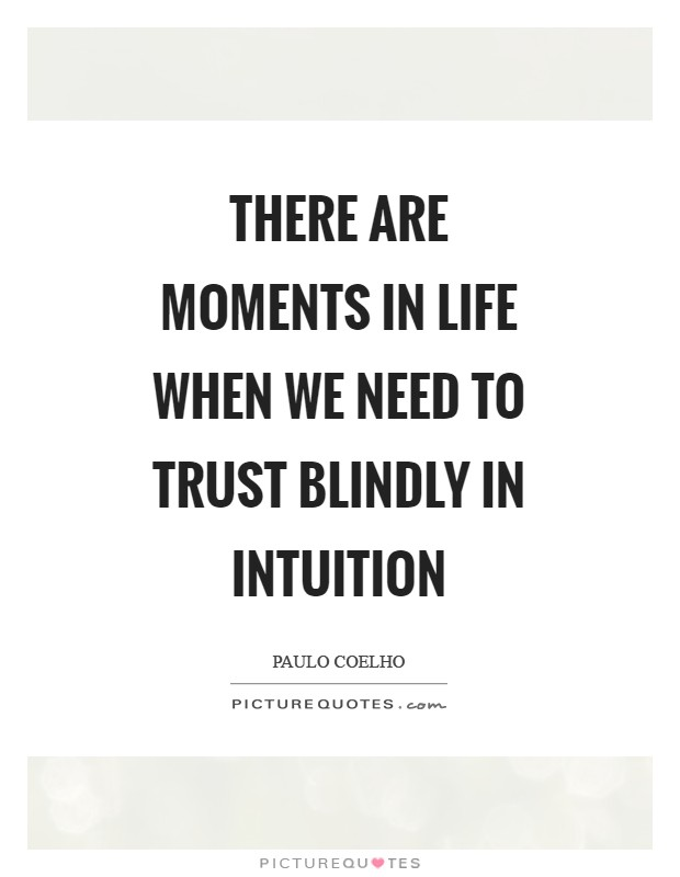 There are moments in life when we need to trust blindly in intuition Picture Quote #1