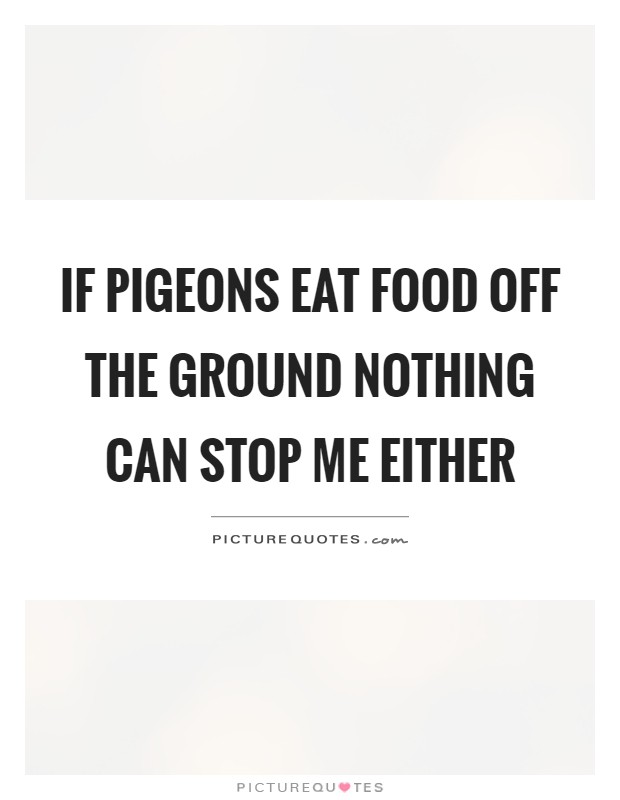 If pigeons eat food off the ground nothing can stop me either Picture Quote #1
