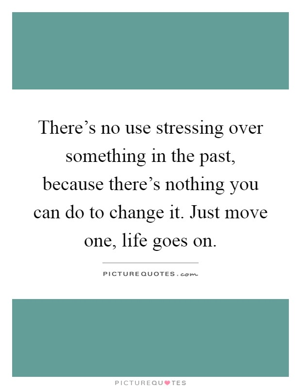 There's no use stressing over something in the past, because there's nothing you can do to change it. Just move one, life goes on Picture Quote #1
