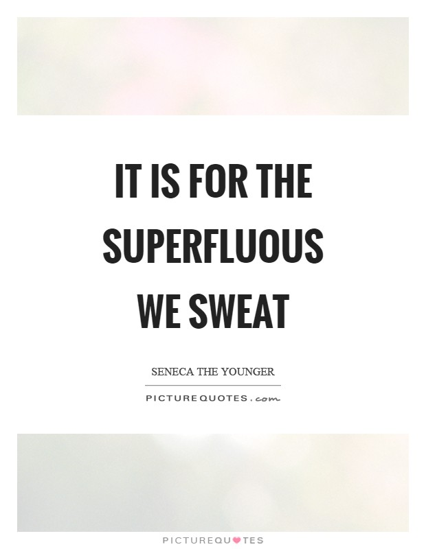 It is for the superfluous we sweat Picture Quote #1