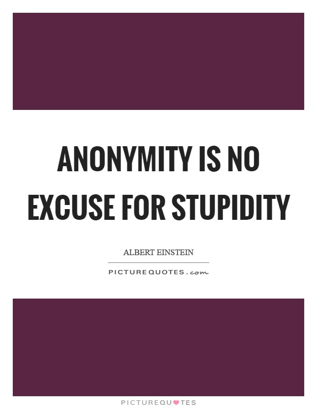 Anonymity is no excuse for stupidity Picture Quote #1