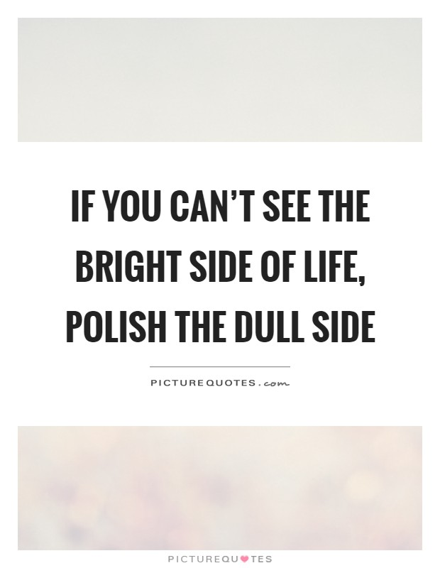 If you can't see the bright side of life, polish the dull side Picture Quote #1