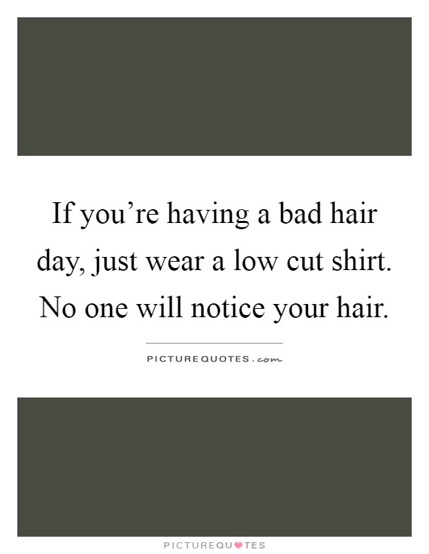 If you're having a bad hair day, just wear a low cut shirt. No one will notice your hair Picture Quote #1