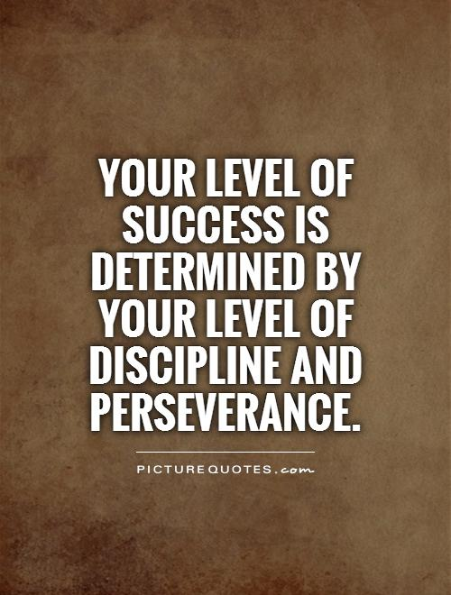 Your level of success is determined by your level of discipline and perseverance Picture Quote #1
